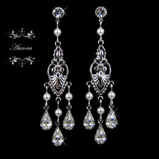 Swarovski Crystal Elements White Pearl Sparkle Chandelier Earrings Wedding Bride