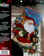 "Bucilla Christmas Joy ~ 18"" Felt Christmas Stocking Kit #86019, Santa, Toys,"