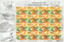 INDIA 2006 Birds - Manipur Bush-Quail, U/M MS (4 x 4stamps) 5 R. MAJOR VARIETIES