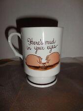 Vintage Pedestal Mug Kissing Pigs Here's Mud In Your Eyes