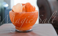 Himalayan salt lamp Fire Bowl,+1 heart crafted chunk,Gift for Lovers,Easter Gift