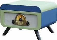 Steepletone RICO Retro Turntable VINYL Record CD Player Radio Blue/Green