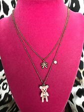 Betsey Johnson Vintage Dream Closet Pink Teddy Bear Doll House Marilyn Necklace