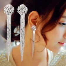 Silver Diamante Sparkling Long Drop Tassle Tassel Rhinestone EarringsTrendy *UK*