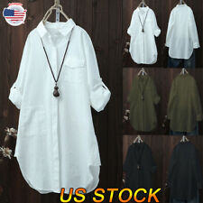 New Women V Neck Button Casual Ladies Blouses Loose Baggy Tops Tunic T Shirts US