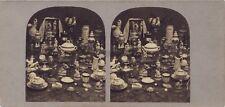 Nature Morte Porcelaine Etude Artistique Photo Stereo Vintage albumine ca 1860