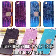 Bulk Wholesale Lot (100) Bling Rhinestone Diamond Flip Wallet Case iPhone 6G 4.7