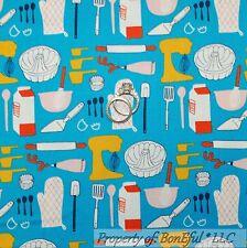 BonEful FABRIC Cotton Quilt Blue Red White Old VTG Kitchen Mixer Bake Cook SCRAP