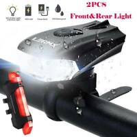 MTB Bike Bicycle Head Front&Rear Light Cycling USB Rechargeable LED Tail Lamp UK
