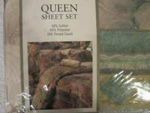 Croscill QUEEN Flat sheet & BED SKIRT 200ct thread, 60% Percale 40% Poly No Iron
