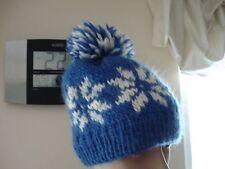 Hand knit hat with snowflake pom pom 100%thick Merino Wool Women's/Kids BLUE
