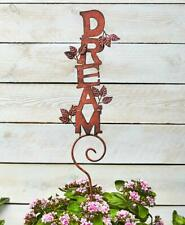 """Rustic Finish Inspirational Word """"DREAM"""" with Leaves Outdoor Metal Garden Stake"""
