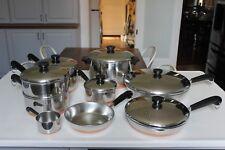Revere Ware 15 Pc Cookware Set - Sauce Pan Stock Pot Skillet Copper Clad USA