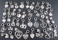 40pcs Tibetan Silver Wholesale Charms Beads Mixed Heart Fit European Bracelet #