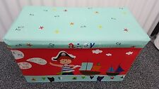 Pirates Large Kids Storage Ottoman Toys Box Chest Seat Bedroom Home Red Tidy