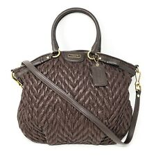 *EUC* COACH F18634 Madison Quilted Chevron Bag in Brown