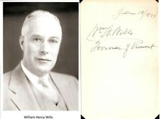 William Henry Wills Autograph Governor Vermont Federal Communications Commission