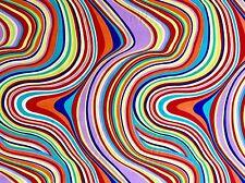 FQ Luminoso Psichedelico Swirl tessuto Hippy Hippie Retro 60S