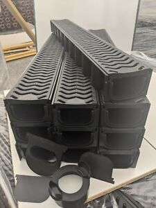 POLY DRAINAGE CHANNEL DRIVEWAY & PATIOS 10mtr Plastic Grating FREE ACCESSORIES
