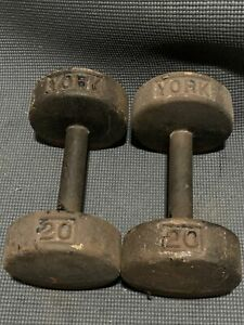 (2) Vintage YORK 20 LB Dumbbell Roundhead Weight Lifting Gym Exercise Free Ship