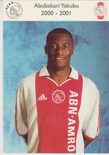 AUTOGRAMMKARTE / AUTOGRAPHCARD 2000-2001 Abubakari Yakubu Ajax Amsterdam