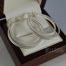 925 Sterling Silver Plt Double Hoop Twist  Earrings 40mm UK -149