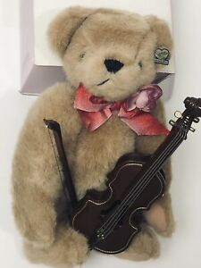 """Annette Funicello Collectible Bear """"Jolly"""" Pre Owned With Tags With Instrument"""