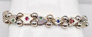 Antique 1950s Natural Emerald Sapphire RUBY Sterling Silver SLIDE Charm Bracelet
