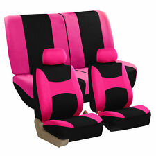 Pink Car Seat Covers Pink Full Set for Auto SUV VAN w/2Headrests