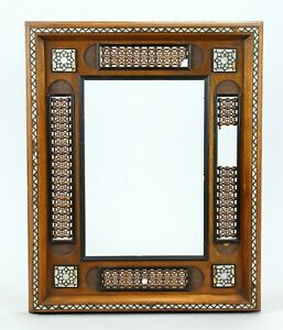 =Antique 1800's Picture Frame Carved Wood with MOP Inlay Egypt