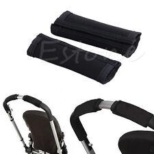 2pcs Black Baby Pram Stroller Rotary Handle Grip Sleeve Bumper Cover Accessory