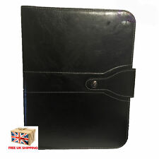 A4 Leather Business Conference Folder Document Organizer Zip Bag Buttoned Black