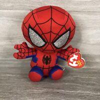 "TY Beanie Baby 6"" SPIDER-MAN Spiderman (Marvel) Plush Stuffed Animal Toy E2"