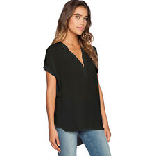 Plus Size Women Chiffon Summer V Neck Tops T-shirt Casual Loose Blouse Tee S-4XL