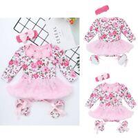 Baby Girls Romper Dress First Birthday Party Flower Tutu Skirt Headband Clothes