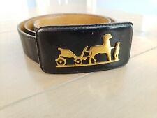 Vintage MOD Hermes Belt w Black Leather Buckle Gold Horse Carriage Paris France