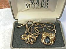 "Vintage 24"" Goldtone Necklace With 2 Nolan Miller Pendants"