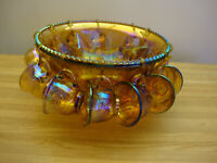 VINTAGE INDIANA GLASS AMBER IRIDESCENT CARNIVAL HARVEST GRAPE PUNCH BOWL W/ CUPS