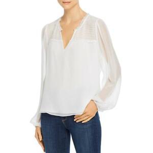 Parker Womens Dauphine Silk Smocked V-Neck Blouse Top BHFO 8060