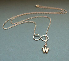 Gold Letter Charm Necklace. Personalized Initial Pendant. Infinity Jewelry
