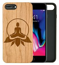 iPhone Samsung Huawei Pixel Real Wooden Phone Case Engraved Meditating Buddha