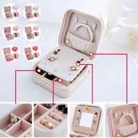 Portable Travel Jewelry Box Earring Ring Display Case Organizer Holder
