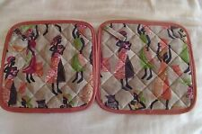 2 Handmade Pot Holders - Ethnic Pattern - 100% Cotton, Abstract, Multi Colo