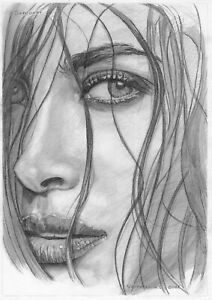 original drawing A4 85VL art samovar Graphite Modern woman portrait close up