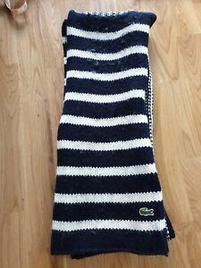 LACOSTE Blue & White Striped Scarf