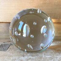 """MCM Murano Licio Zanetti Bubble Paperweight 4"""" Signed 1970s"""