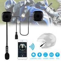 Rechargeable Motorcycle Helmet Headset Speaker Mic Bluetooth 4.2 Handsfree Music