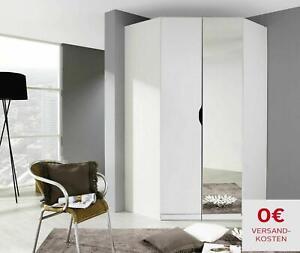 Kleiderschrank Eckschrank »Helsinki« Weiß Spiegeltür inkl. Ablagefächer begehbar