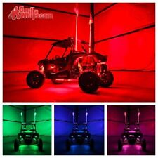LED Lighted 6' Whip with WIRELESS Remote- Changes 20 Colors- ATV w/Confederate