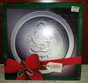"American Glass Indiana Glass Wreath Platter Christmas Serving Tray 13"" Clear"